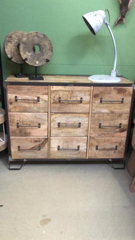 Stoer houten industrieel landelijk kastje kast 120 x 40 x H90 cm ladenkast ladekast commode tvkast televisie Sidetable metaal hout 9 laden halkastje