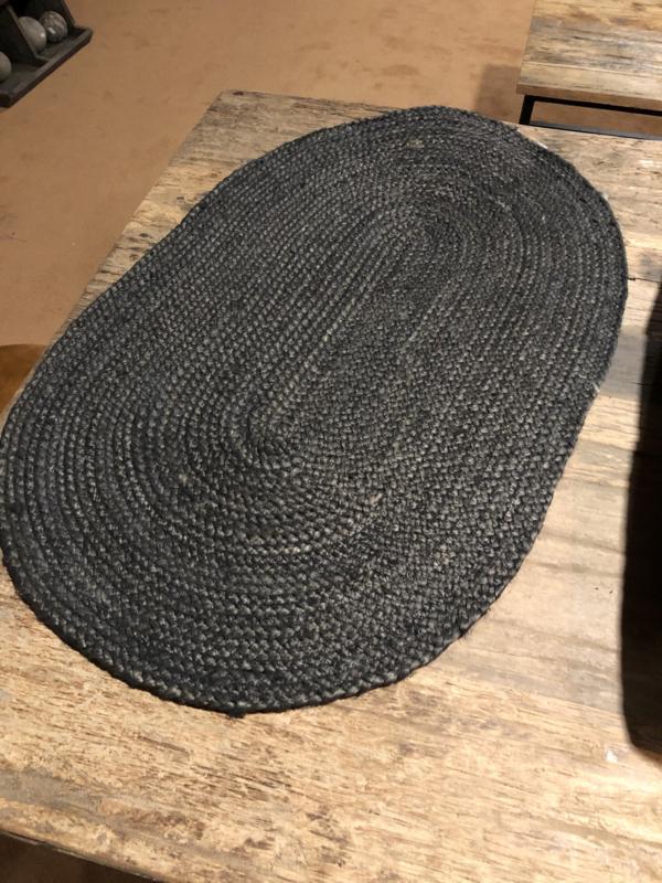 Zwart grijze ovale deurmat antraciet