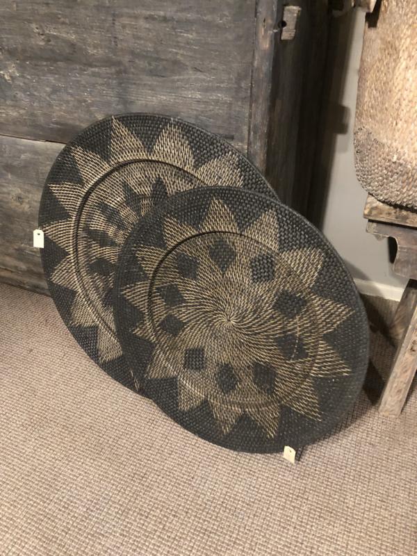 Rotan wandbord 60 cm bruin zwart