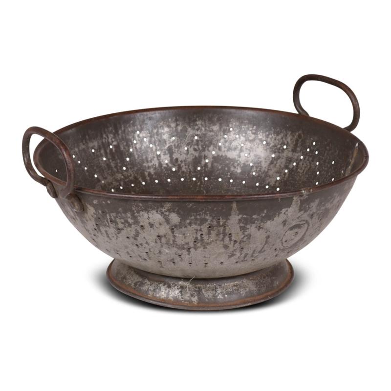 Metalen vergiet keukengerei landelijk industrieel stoer vintage metaal grijsbruin