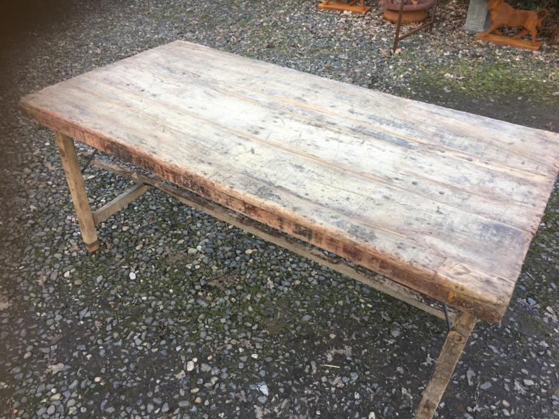 Side Table Oude Werkbank.Oude Landelijke Industriele Eettafel 150 X 75 Cm Naturel