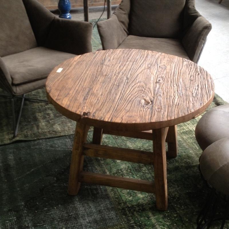 Ongebruikt Robuuste ronde houten salontafel bijzettafel rond hout nerf stoer JE-88