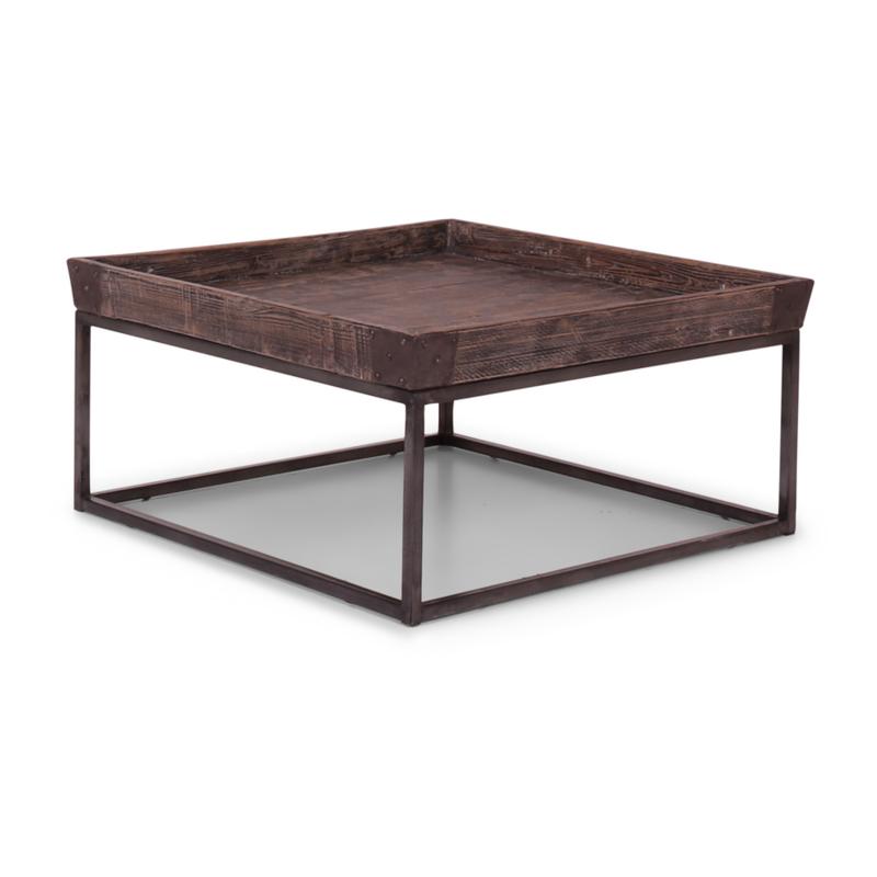 Prachtige stoere landelijke industriele salontafel bijzettafel tafel 80 x 80 cm metalen onderstel vergrijsd grijs houten blad