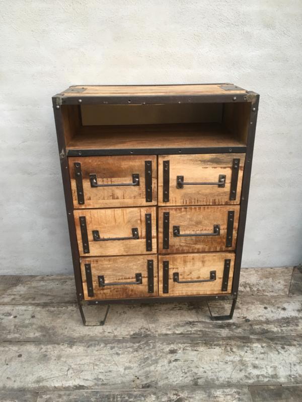 Wonderbaar Stoer houten industrieel landelijk kastje kast ladenkast ladekast BO-28