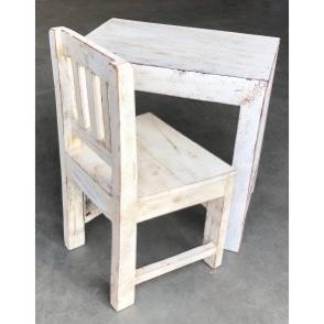 Oud houten tafeltje bijzettafeltje Salontafel kindertafeltje nachtkastje 50 x 30 x 50 cm wit whitewash white burootje Ibiza  landelijk vintage industrieel