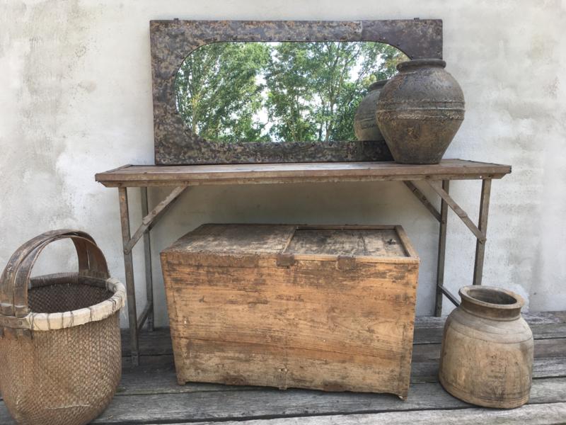 Salon Tafel Dekenkist.Prachtige Grote Oude Antiek Doorleefd Houten Kist Dekenkist