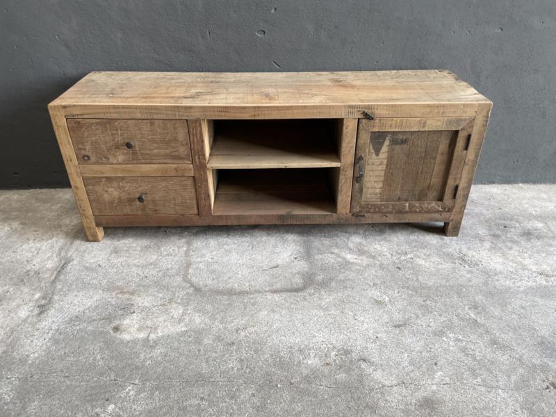Oud vergrijsd houten dressoir tvmeubel televisiekast audio landelijk stoer industrieel vintage  160 x 46 x 60 cm
