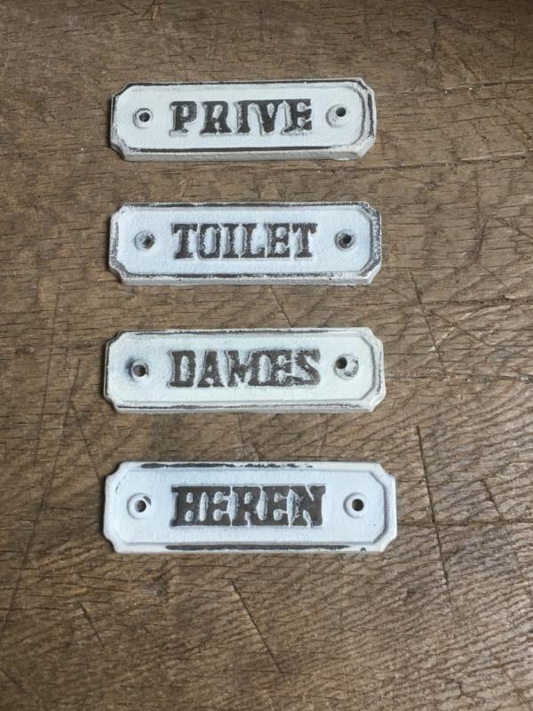 """Gietijzeren plaatje deur bordje wit grijs metaal  naambordje """"dames"""" damestoilet"""
