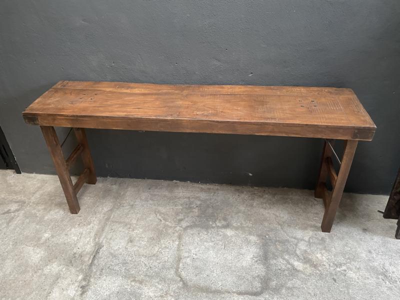 Oude landelijke industriële tafel Sidetable  wandmeubel klaptafel 170 x 40 x 80 cm buro bureau klaptafel werkbank werktafel oud vintage stoer