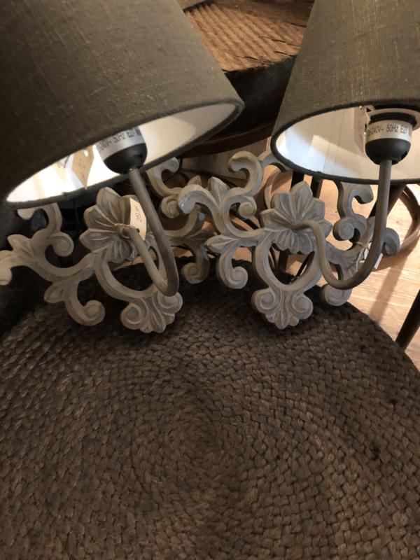 Landelijk grijs wandlampje wandlamp lamp lampje stoer brocant hout
