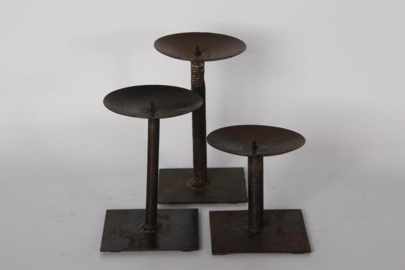 Set van 3 metalen kandelaars tafelkandelaars landelijk stoer industrieel vintage urban