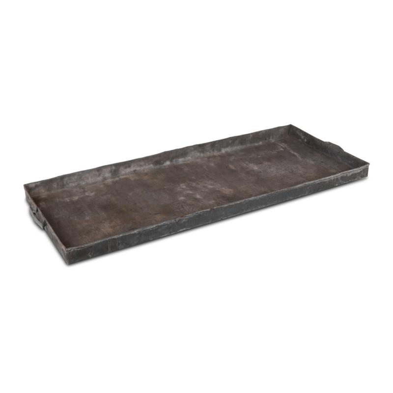 Megagroot oud metalen dienblad 150 x 60 x 7 cm schaal plateau tafelblad schaal industrieel grijs metaal landelijk stoer urban