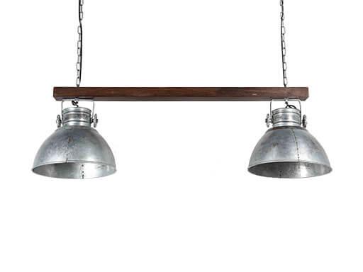 Industriele landelijke hanglamp plafond lamp hout metaal 2 kappen 90 cm zink grijs bruin industrieel landelijk stoer vintage