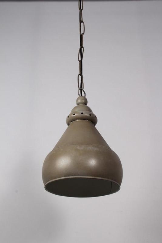 Metalen hanglamp industrieel landelijk oud grijs stoer vintage retro old grey 25 X H36 cm