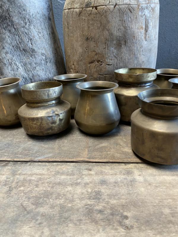 Stoere oude koperen potje potjes vintage landelijk lepelbakje lepelpotje stoer