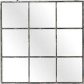 Groot vierkant zwart/grijs/wit metalen stalraamspiegel 118 cm vierkante stalraam kozijn venster tuinspiegel spiegel zwart kozijn venster landelijk industrieel vintage