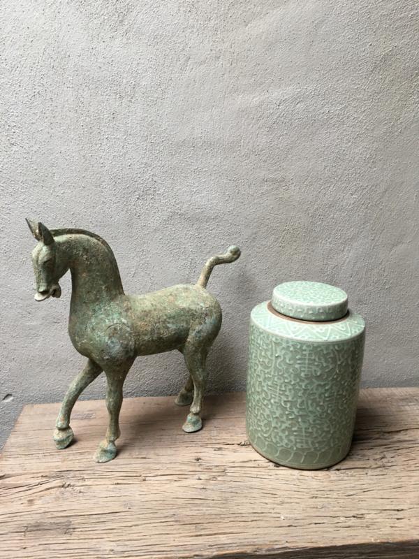 Metalen paard paardje horse pferd metaal oud brons kleur groen beeld beeldje