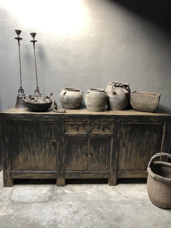 Prachtig uniek groot oud houten dressoir Sidetable kast stoer robuust grijs zwart naturel doorleefd Patine 210 x 49 x H98 cm