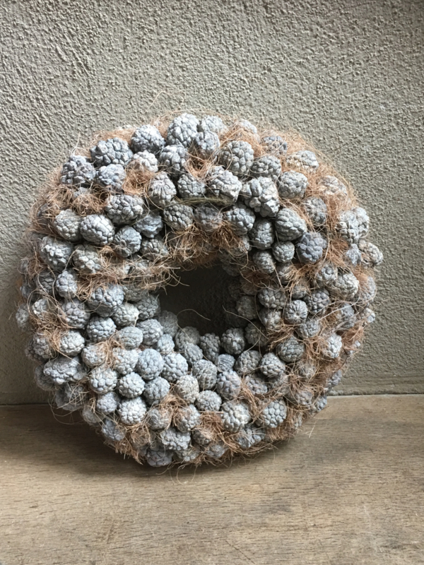 Ata fruit wreath krans grijs 40 cm vergrijsd