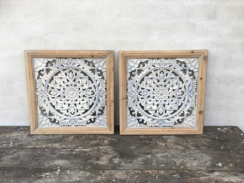Houten wandpaneel wanddecoratie vierkant landelijk industrieel sober grijs beige 43 x 43 cm