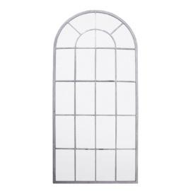 Grote spiegel in metalen stalraam, stalraamspiegel landelijk 140 cm industrieel kozijn venster grijs beige