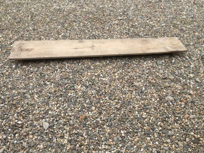 Mega lange bajotplank zitplank opstapje opstap plank op pootjes voetjes dienblad landelijk stoer industrieel vintage brocant