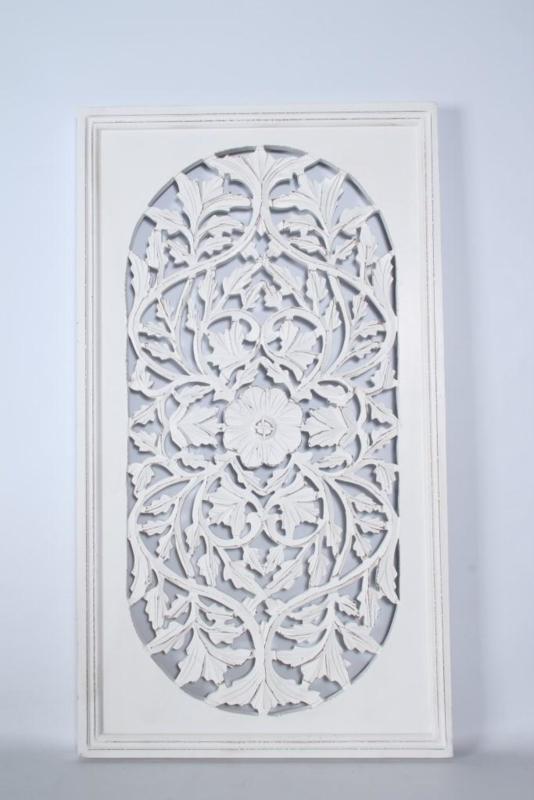 Stoer landelijk oud houten wandpaneel wit raampaneel 90 x 50 wandornament wanddecoratie hout panelen luiken