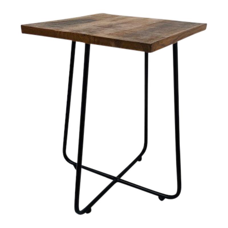 Leuke krukjes kruk krukje tafeltje nachtkastje industrieel vintage landelijk metalen frame onderstel met houten zitting blad vierkant