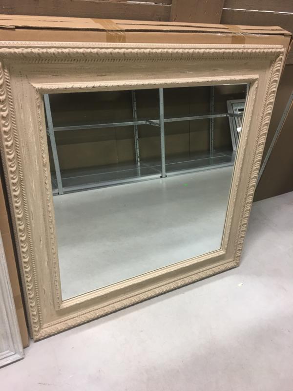 Prachtige grote vierkante houten spiegel 100 x 100 cm beige zand landelijk houten sierlijst
