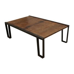 Industriele salontafel metalen onderstel houten blad landelijk vintage lounge industrieel 134 X 80 X 42 cm