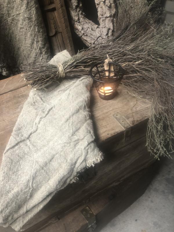 Shabby doek doeken 45x45 cm landelijk grof linnen stoer sober beige naturel lap stof