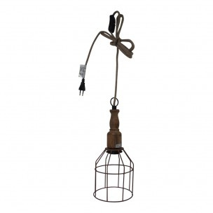 Draadijzeren hanglamp vintage looplamp model landelijk bruin stoffen sober stoer brocant jute touw kabel nieuw