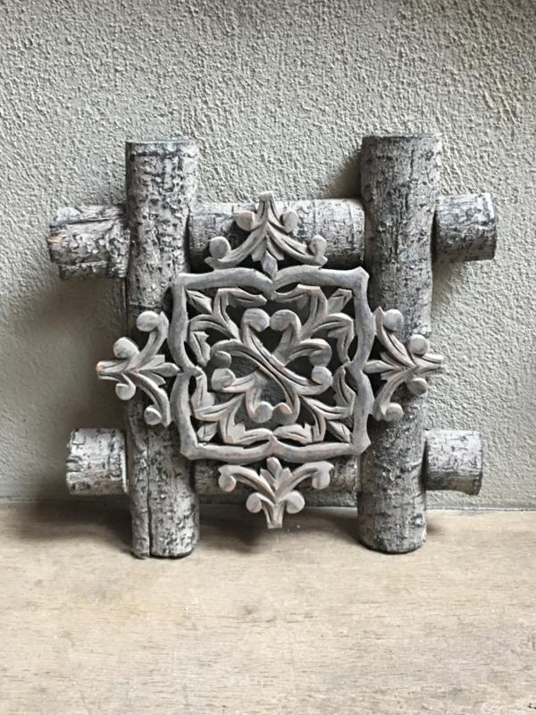 Stoer landelijk vergrijsd oud houten wandpaneel grijs naturel 33 x 33 cm wandornament wanddecoratie hout panelen luiken