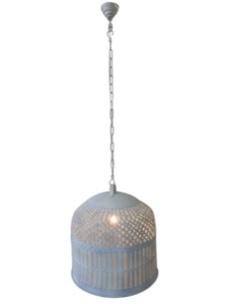 Grote smeedijzeren korf lampekap hanglamp kooi lamp 74 X 68 cm korflamp vintage mand landelijk wit industrieel