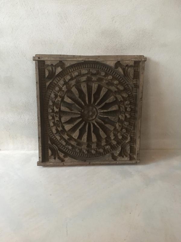 Prachtig groot origineel oud ( antiek ) houten paneel mal van plafondornament 3D gipsmal Wandpaneel wandornament Luik landelijk