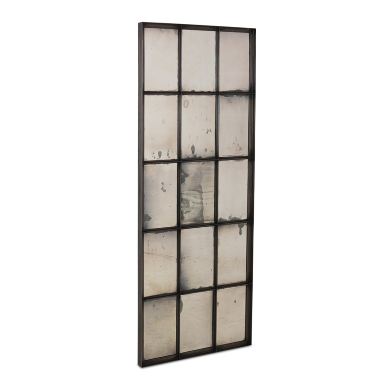 Prachtige grote zwarte zwart metalen spiegel verweerd 182 x 74 x 5 cm stoer industrieel urban landelijk vintage