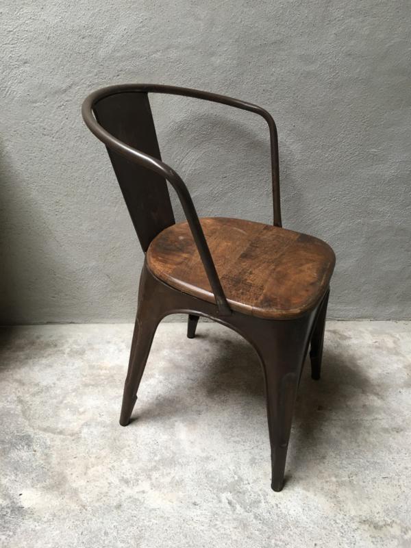 Industriële landelijke stoel stoelen eetkamerstoelen industrieel landelijk vintage metaal hout bruin