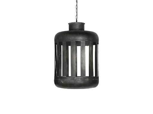 Stoere zwarte metalen hanglamp lantaarn S smal klein urban stoer landelijk industrieel zwart