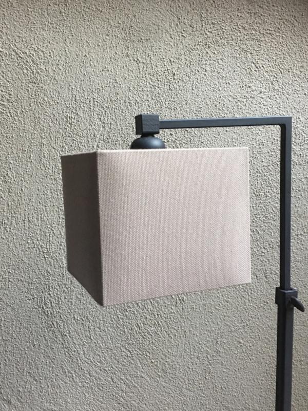 Vierkante lampekap linnen lever taupe beige 15/15 cm tierlantijn