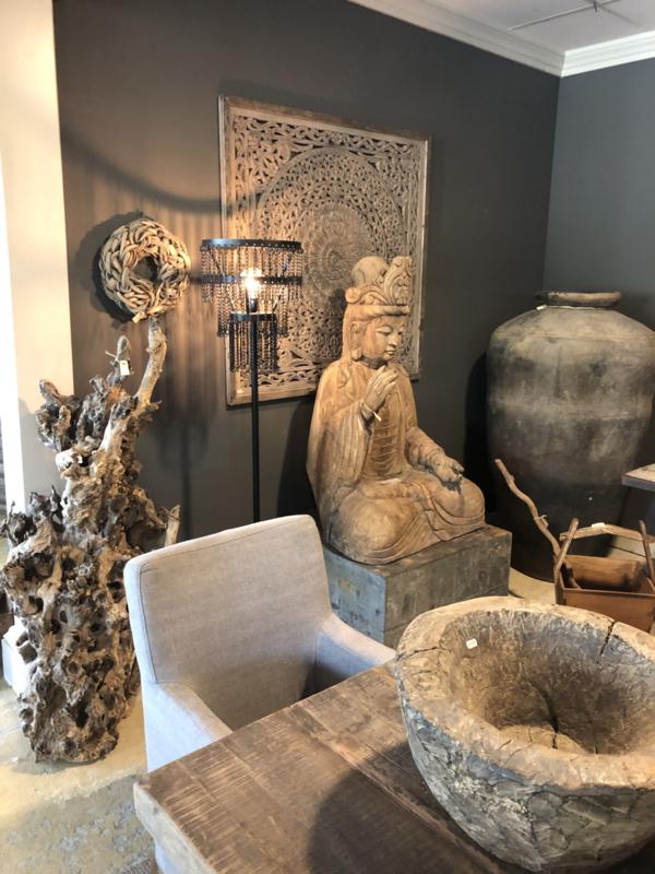 Stoere metalen vloerlamp staande lamp zwart grijs metaal be uniq ketting Katie 170 x 35 cm urban stoer industrieel landelijk vintage