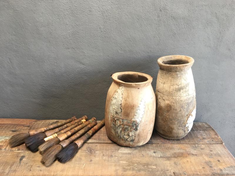 Grote oude houten pot potten Nepal vaas kruik kruik landelijk