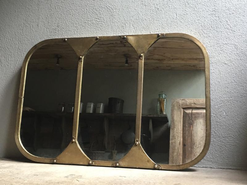Gave vintage metalen spiegel retro industrieel koper koperen koperkleurig stalraamspiegel kozijn
