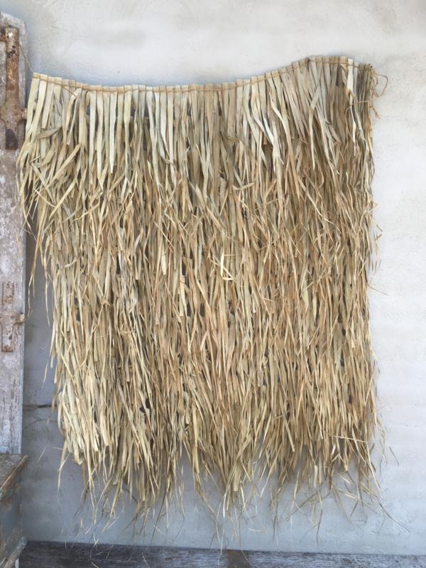Palm leaf mat 80 x 65 cm natural naturel landelijk wandkleed wandpaneel wanddecoratie bamboe vliegengordijn hor schaduwdoek klamboe takken sober stoer vintage wanddecoratie schaduwdoek wanddoek