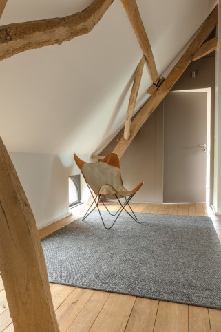 Groot handgewoven 100 % vervilt wol vloerkleed kleed carpet karpet charcoal 140 x 200 cm