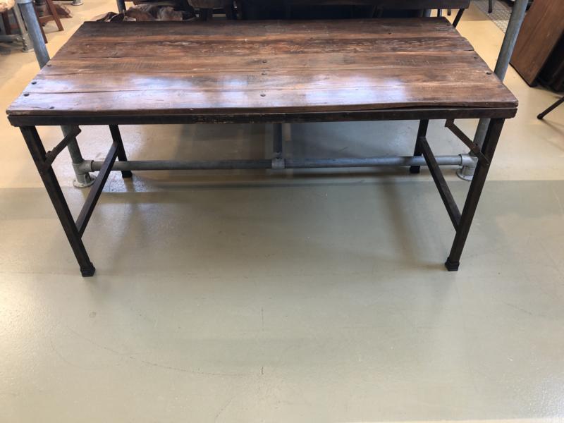 Oude landelijke industriële Sidetable eettafel naturel 150 x 60 cm hout houten Sidetable bureau buro tuintafel klaptafel werkbank werktafel oud vintage stoer