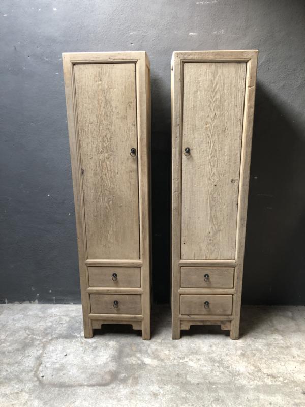 Landelijke hoge smalle kast kastje badkamer slaapkamer hal landelijk licht olmhout beetje vergrijsd