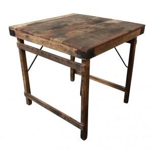 Oude landelijke industriële eettafel naturel 80 x 80 cm hout houten Sidetable bureau buro klaptafel werkbank werktafel oud vintage stoer