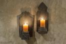 Grijs houten kandelaar wandkandelaar landelijk stoer robuust oud ornament