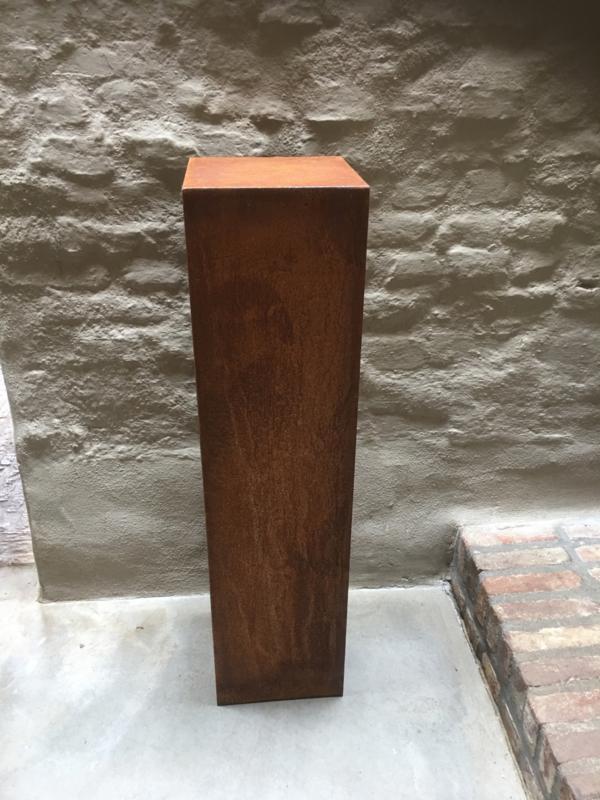 Plaatstaal zuil sokkel pilaar roest 100 x 40 x 40 cm landelijk strak kolom colom