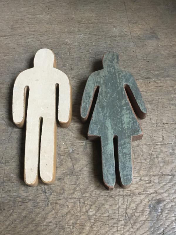 Sloophouten Nostalgische deurbordjes deur bordje heren jongen mannen man houten poppetjes naambordje plaatje wc toilet houten hout bord